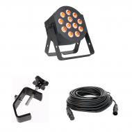 American DJ 12P HEX LED Flat Par Wash Lighting Fixture with 50-ft DMX 3 Pin Lighting Cable and Tr...