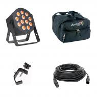 American DJ 12P HEX LED Flat Par Wash Lighting Fixture with 50-ft DMX 3 Pin Lighting Cable, Truss...
