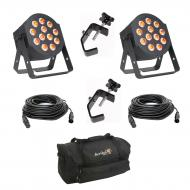 American DJ 12P HEX LED Flat Par Wash Lighting Fixture (2) with 50-ft DMX 3 Pin Lighting Cable (2...