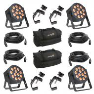 American DJ 12P HEX LED Flat Par Wash Lighting Fixture (4) with 50-ft DMX 3 Pin Lighting Cable (4...