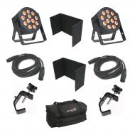 American DJ 12P HEX LED Flat Par Wash Lighting Fixture (2) with 3 Pin DMX Control Cable (2), Trus...