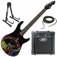 Peavey Bart Simpson Rockmaster Electric Guitar Beginner Package with Peavey Backstage Transtube G...