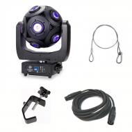 American DJ Asteriod LED Centerpiece Effects Fixture w/ 3 Pin DMX Cable, C Clamp