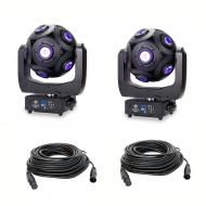 American DJ Asteriod LED Centerpiece Fixture (2) w/ 50ft 3 Pin DMX Cable (2)