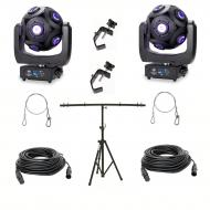 American DJ Asteriod LED Centerpiece (2) w/ Top T Tripod Stand, 50ft DMX Cable
