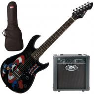 """Peavey Marvel Captain America Guitar with 6"""" Amp and Guitar Bag"""