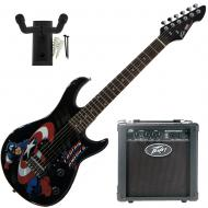 """Peavey Marvel Captain America Guitar with 6"""" Amp and Guitar Hanger"""