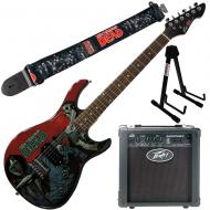 """Peavey Walking Dead Michonne Slash Guitar with 6"""" Amp, Group Strap, and Stand"""