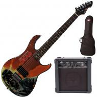"""Peavey Walking Dead Governor Red Guitar with 4"""" Amp and Bag"""