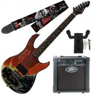 """Peavey Walking Dead Governor Red Guitar with 6"""" Amp, Walkers Strap, and Hanger"""