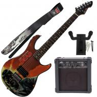 """Peavey Walking Dead Governor Red Guitar with 4"""" Amp, Walker Strap, and Hanger"""