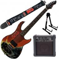 """Peavey Walking Dead Governor Red Guitar with 4"""" Amp, Group Strap, and Stand"""