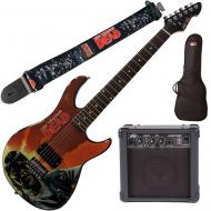 """Peavey Walking Dead Governor Red Guitar with 4"""" Amp, Group Strap, and Bag"""