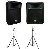 Peavey PR 12D Powered PA Speakers (2) with Crank Tripod Stands