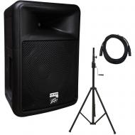 Peavey PR 12D Powered PA Speaker with Crank Tripod Stand and 15' XLR Cable
