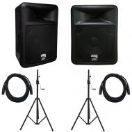 Peavey PR 12D Powered PA Speakers (2) with Crank Tripod Stands and 15' XLR Cable