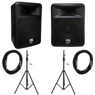 Peavey PR 12D Powered PA Speakers (2) with Crank Tripod Stands and 15' Cable