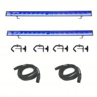 American DJ LED Eco Lighting Bar (2)  with C-Clamp (4) and 3 Pin DMX Cable (2)