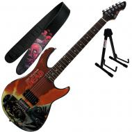 Peavey Walking Dead Governor Red Guitar with Purple Strap and Stand