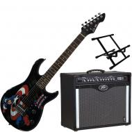 Peavey Bandit 112 Amp and 3/4 Size Marvel Captain America Guitar with Amp Stand