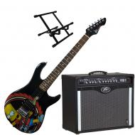 Peavey Bandit 112 Amp and Bart Simpson Guitar with Amp Stand