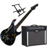 Peavey Bandit 112 Amp and Marvel Captain America Guitar with Amp Stand
