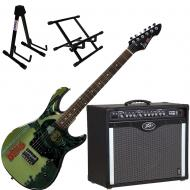 Peavey Bandit 112 Amp and Walking Dead Michonne Splash Guitar with Stands