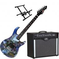 Peavey Bandit 112 Amp and Marvel Guardians of the Galaxy Guitar with Amp Stand