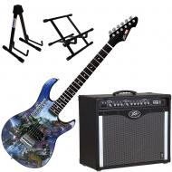 Peavey Bandit 112 Amp and Marvel Guardians of the Galaxy Guitar with Stands