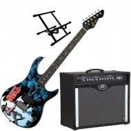 Peavey Bandit 112 Amp and Walking Dead Carl Surrounded Guitar with Amp Stand