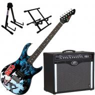 Peavey Bandit 112 Amp and Walking Dead Carl Surrounded Guitar with Stands