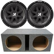 "Kicker 43C104 10"" Comp 150W Car Audio Subwoofers (2) with Vented Sub Box Enclosure"