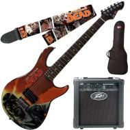 """Peavey Walking Dead Governor Red Guitar with 6"""" Amp, Survivors Strap, and Bag"""