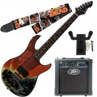 """Peavey Walking Dead Governor Red Guitar with 6"""" Amp, Survivors Strap, and Hanger"""