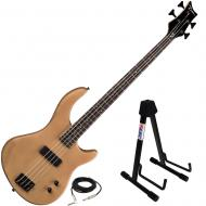 Dean Edge 09 Satin Natural Bass Guitar with Low Profile Adjustable Stand