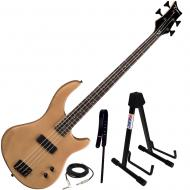 Dean Edge 09 Satin Natural Bass Guitar, Wide Leather Strap, and Adjustable Stand