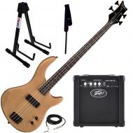 Dean Edge 09 Satin Natural Bass Guitar, Peavey Max 126 Amp, Strap, and Stand