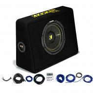 "Kicker 44TCWC104 10"" CompC Loaded Subwoofer Enclosure & Car Audio Install Kit"