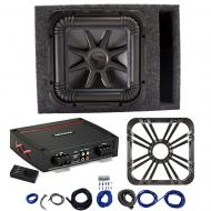 Kicker L7S12 Sub Vented Box w/ 44KXA800.1 Amp, Charcoal LED Grill & Install Kit