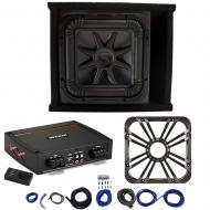 Kicker L7S12 Sub Ported Box w/ 44KXA800.1 Amp, Charcoal LED Grill & Install Kit