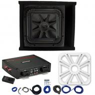Kicker L7S12 Sub Ported Box with 44KXA800.1 Amp, White LED Grill & Install Kit