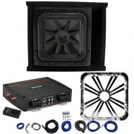 Kicker L7S12 Sub Ported Box with 44KXA800.1 Amp, Chrome LED Grill & Install Kit