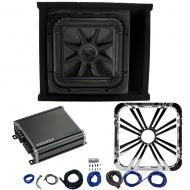 Kicker L7S12 Sub Ported Box with 46CXA8001 Amp, Chrome LED Grill & Install Kit