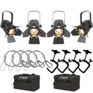 Chauvet EVETF20 LED Lights (4) with Arriba AC126 Cases, C-Clamps & Safety Cables