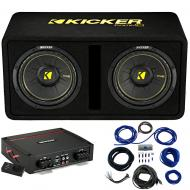 "Kicker 44DCWC102 CompC Ported 10"" Loaded Sub Box w/ 44KXA8001 Amp & Install Kit"