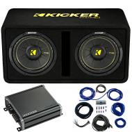 "Kicker 44DCWC102 CompC Ported 10"" Loaded Sub Box w/ 46CXA8001 Amp & Install Kit"