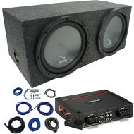 "Harmony HA-R154 Rear Fire 15"" Loaded Sub Box w/ Kicker 44KXA8001 Amp & Wire Kit"