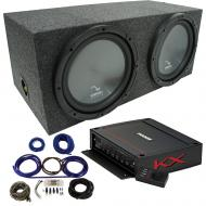 "Harmony HA-R154 Rear Fire 15"" Loaded Sub Box w/ Kicker KXA12001 Amp & Wire Kit"