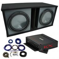 "Harmony HA-R154 Custom 15"" Loaded Sub Box w/ Kicker 44KXA12001 Amp & Install Kit"