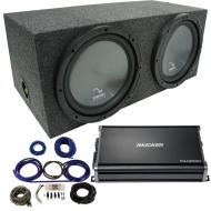 "Harmony HA-R154 Rear Fire 15"" Loaded Sub Box w/ Kicker CXA12001 Amp & Wire Kit"